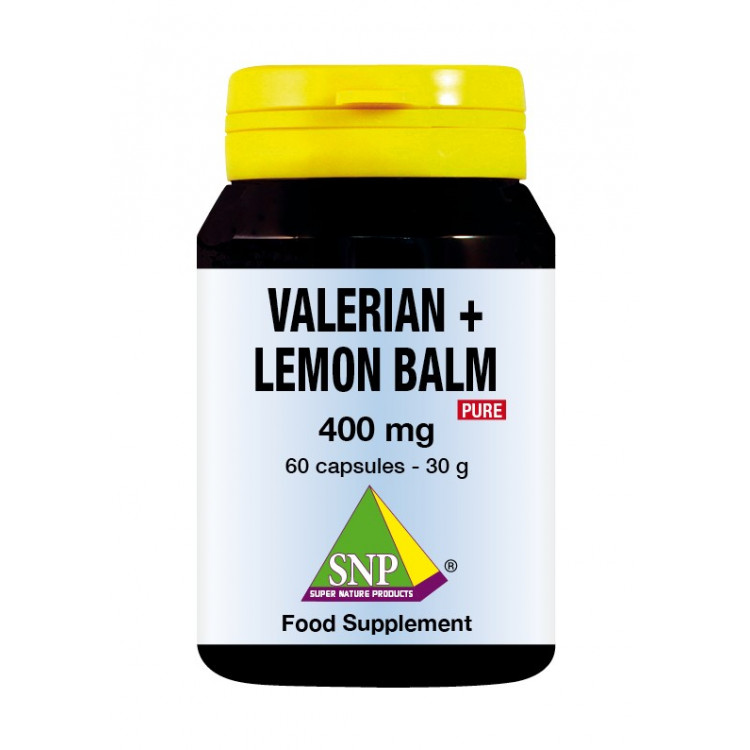 Valerian + Lemon Balm Supplements - 400 mg - Pure (60 Caps)