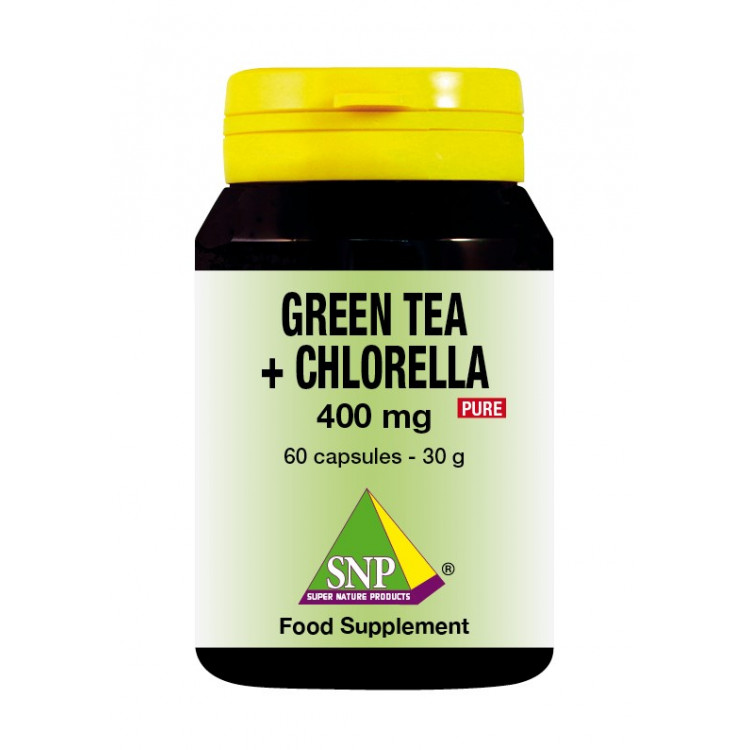 Green Tea + Chlorella Supplements - 400 mg - Pure (60 Caps)