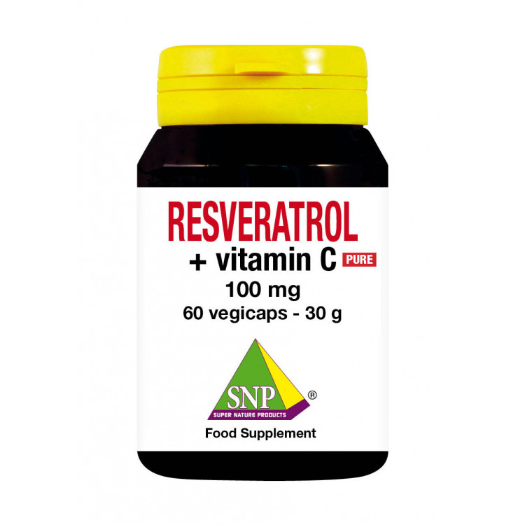 Resveratrol + Vitamin C Supplements - 100 mg - Pure (60 V-Caps)