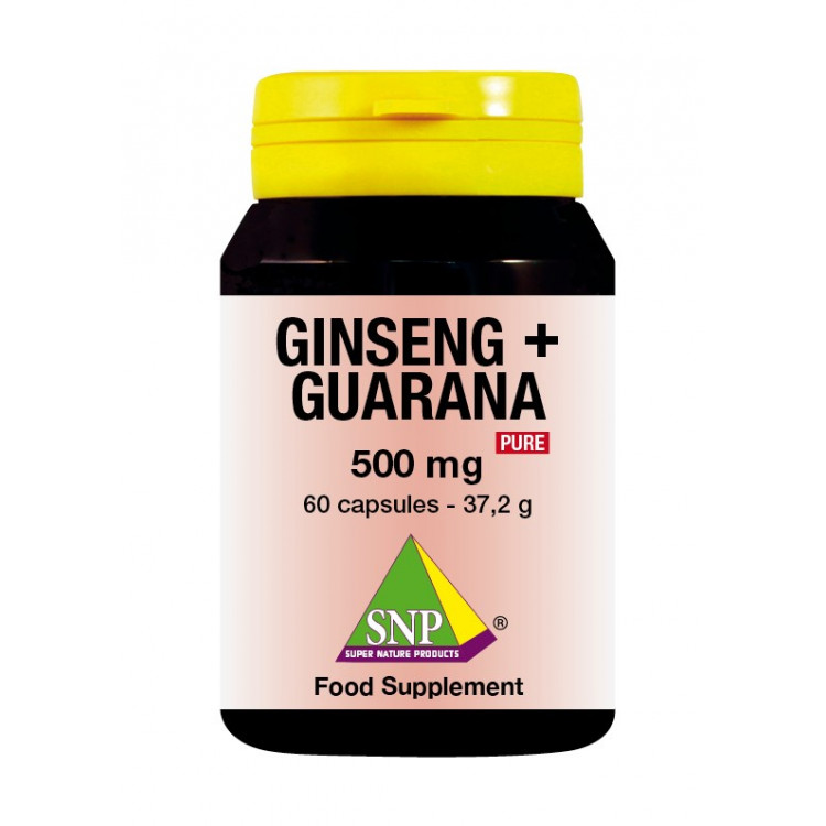 Ginseng + Guarana Supplements - 500 mg - Pure (60 Caps)