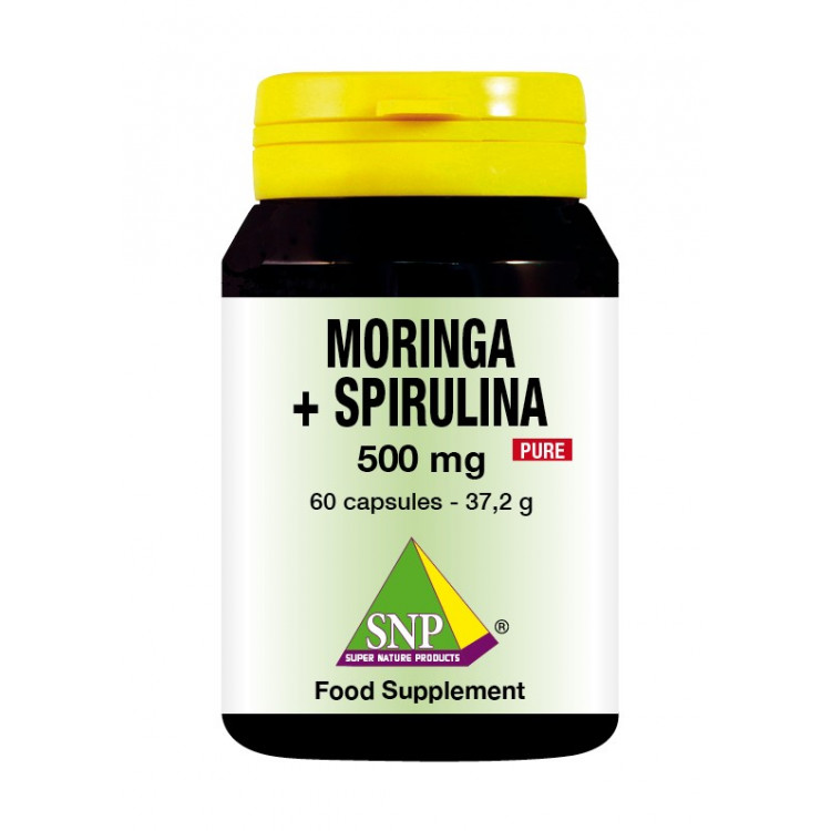 Moringa + Spirulina Supplements - 500 mg - Pure (60 Caps)